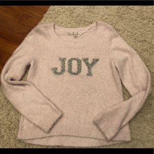 Lauren Conrad Pink Fuzzy JOY Sweater Size Medium